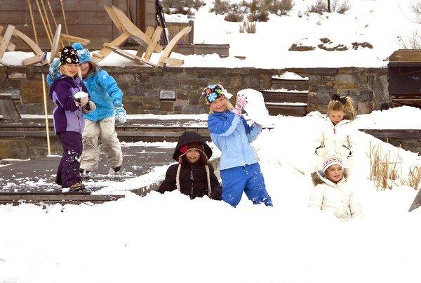 Kids making snowmen at The Ranch's kids' club