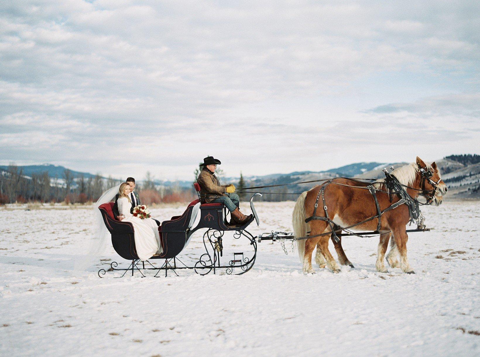 Bridal couples enjoy wagon, stagecoach and sleigh rides at The Ranch at Rock Creek