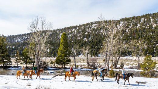 A group takes a winter horseback ride along Rock Creek