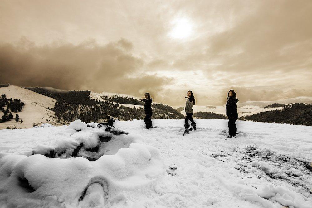 A snowga session on a Montana mountaintop