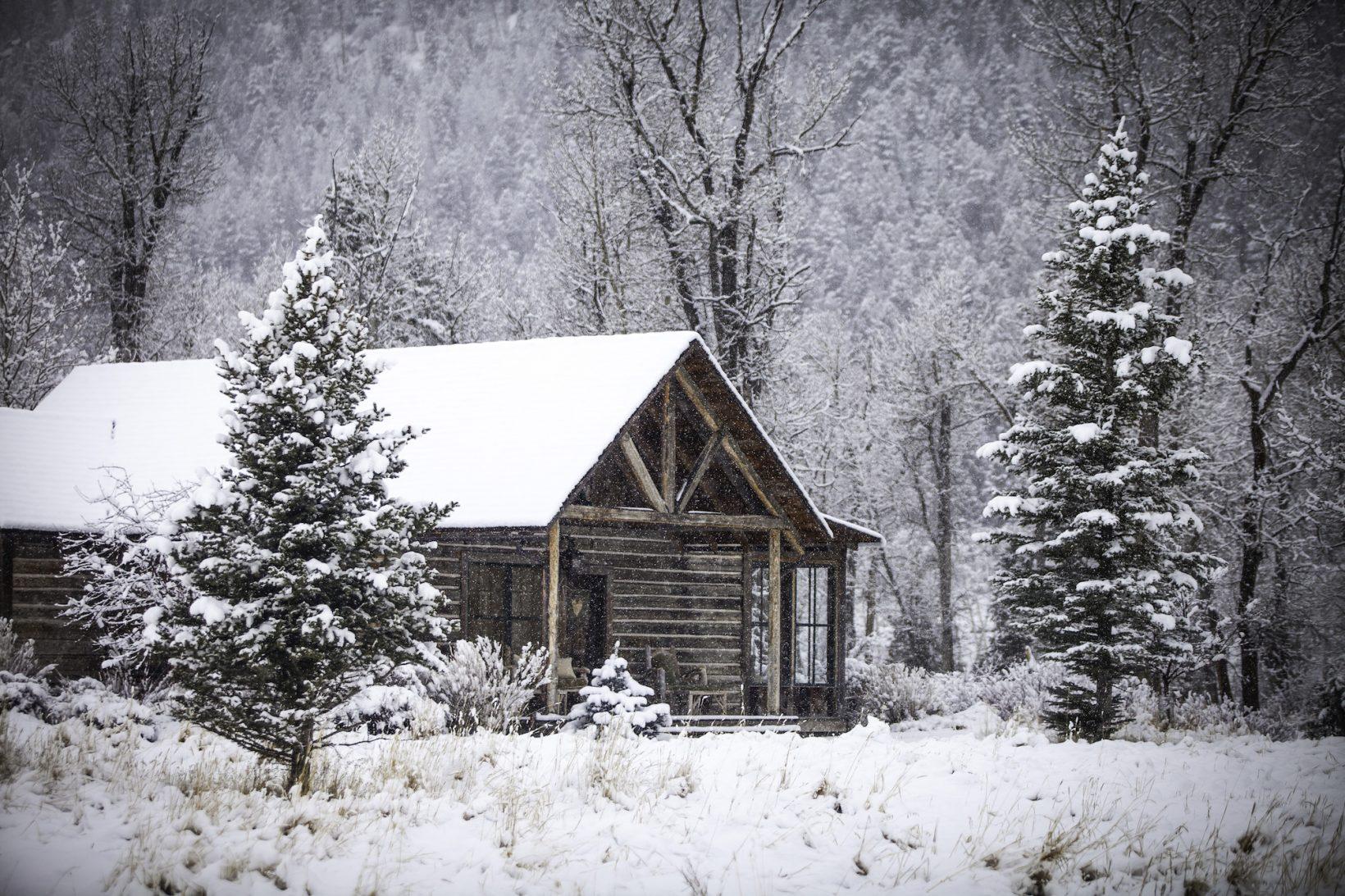 Bluebird Cabin, a favorite honeymoon or anniversary abode, sits under a blanket of fresh snow