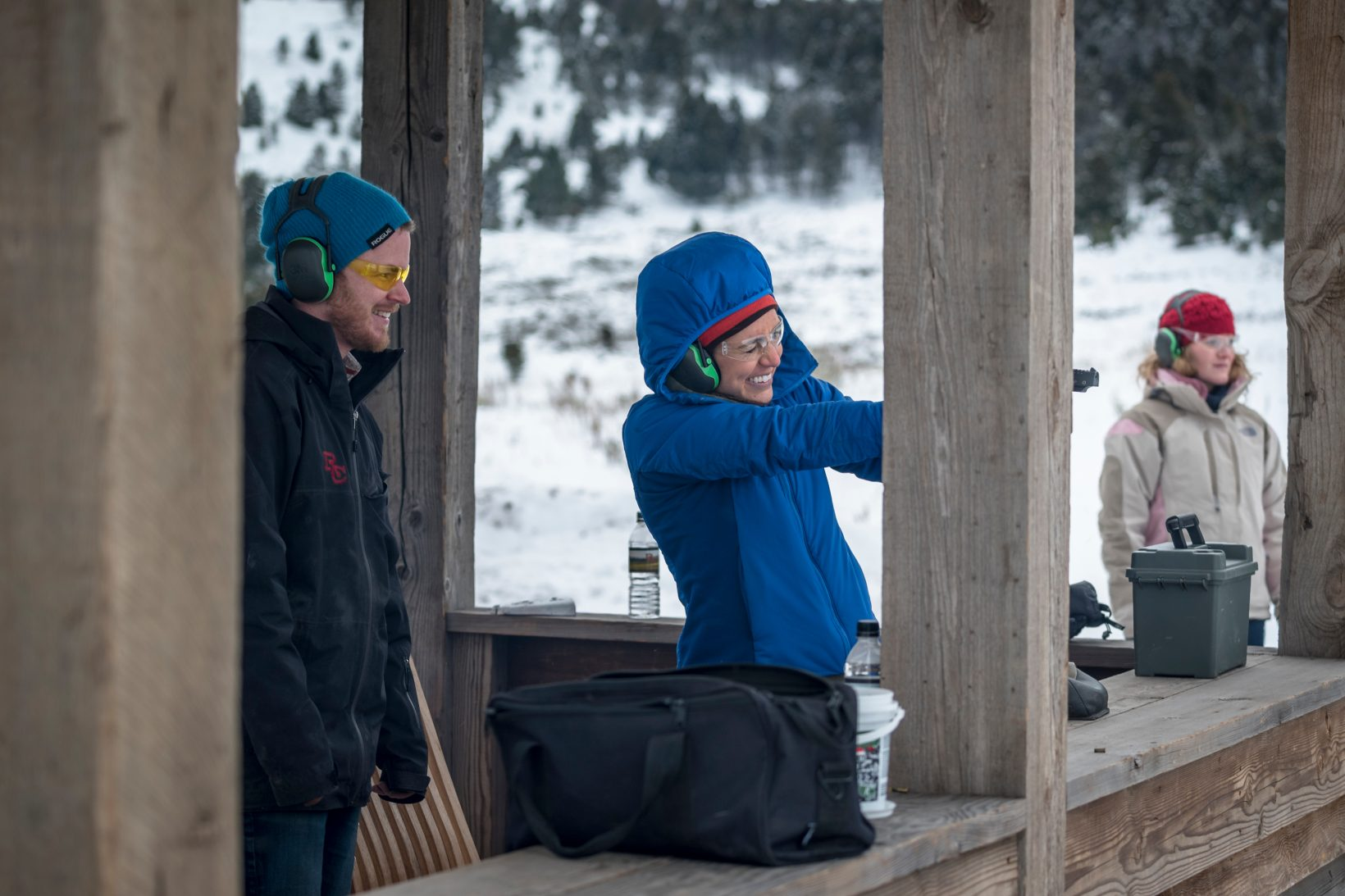 A Ranch guide teaches shooting at the rimfire range during a winter activity. Activities are part of the all-inclusive cost of a stay.