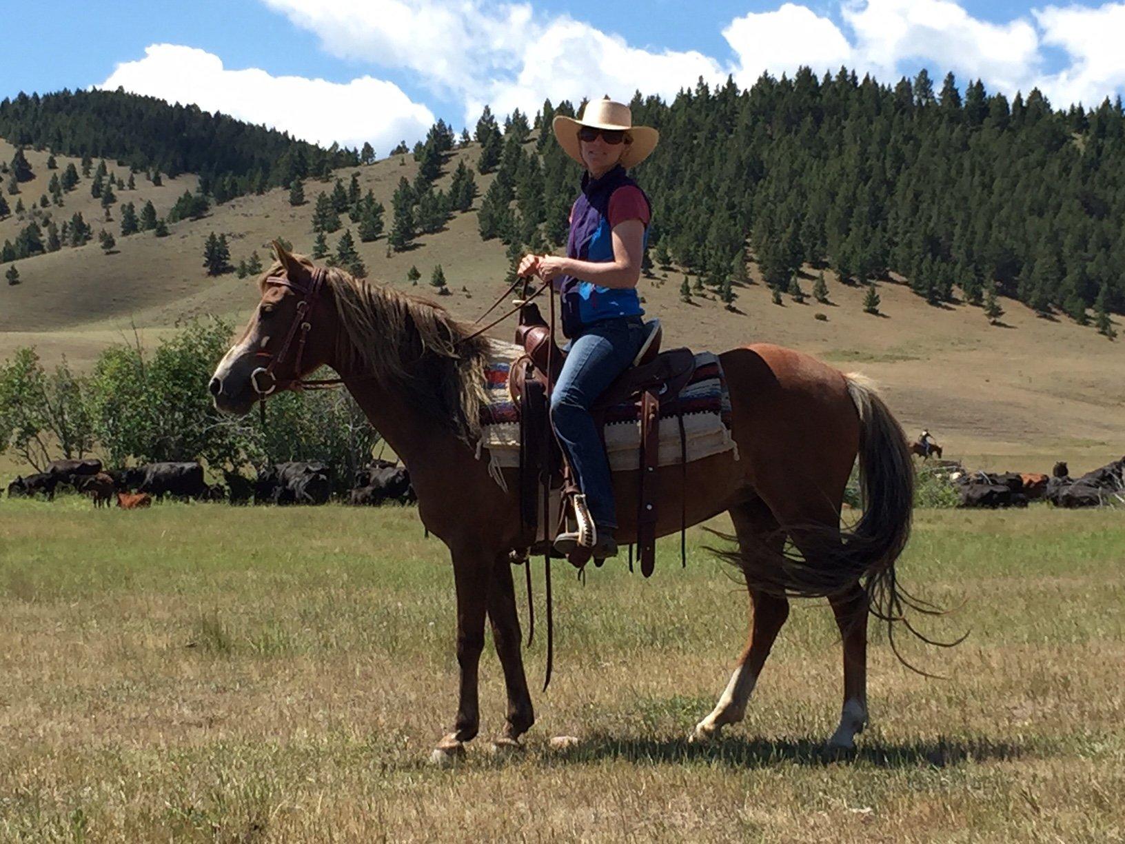 Local Granite County purveyor Katie Radtke of Kate's Honey rides one of her Welsh ponies