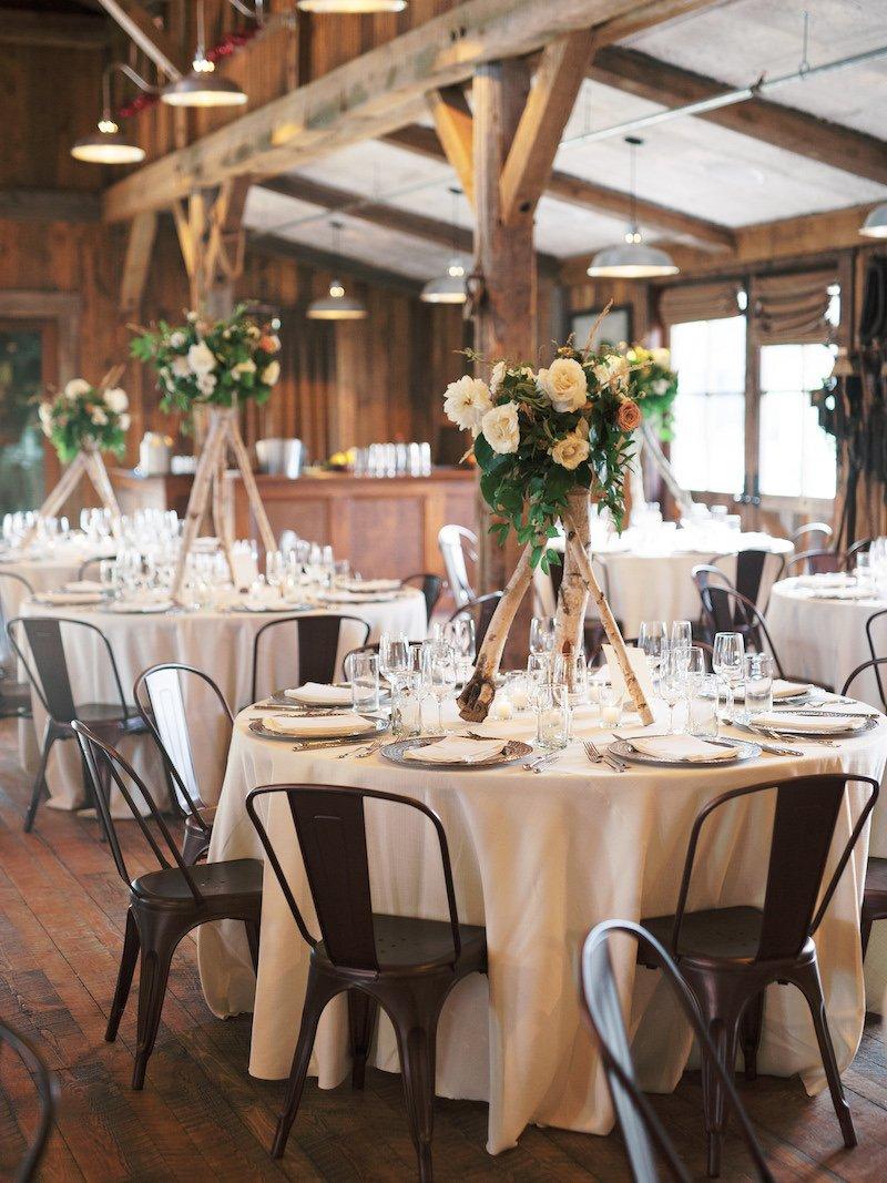 A barn wedding reception at The Ranch at Rock Creek