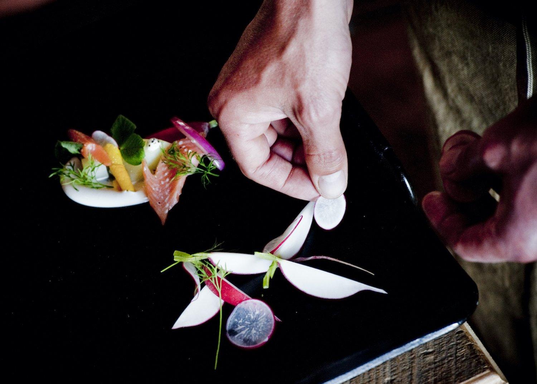 Ranch chef plates a tasting menu course